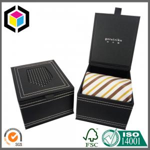 China Matte Black Gift Paper Box for Luxury Ties; Clear Window Paper Packaging Box on sale
