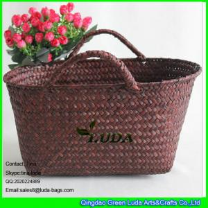 China LUDA household seagrass straw storage basket colored straw basket with handles on sale