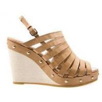 Beige PU Beige Peep Toe Wedge Sandals, summer sandals for women  with 10.5cm Heels