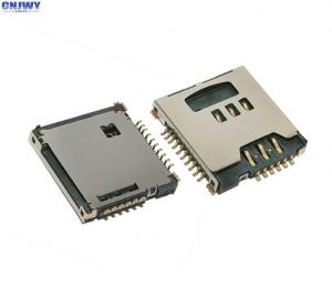 China Metal Flip Micro Sim Card Connector , MS / Memory Card Socket Rated Current 0.5 A on sale