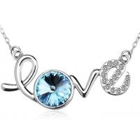 China Rhodium Plated Sterling Silver Love Letter Pendant Necklace For Lady Wedding on sale