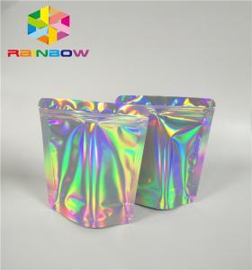 China Mylar Hologram Zipper Customized Paper Bags For Eyelash Glue Cosmetics Products on sale