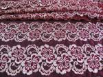 Wavy Floral Elastic Lace Fabric Eco-friendly Dyeing For Evening Dress CY-DK0037
