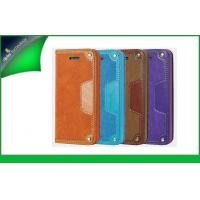 Shockproof Purple Apple Iphone Leather Cases For Iphone 5s , Cell Phone Flip Covers