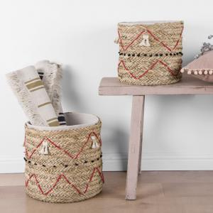 China ODM OEM Design Large Hand Woven Round Straw Toy Bin Cotton Liner Laundry Seagrass Storage Basket ECO Friendly Baskets on sale