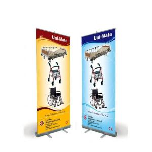 China Outdoor Advertising Flag PVC W80*H200cm Aluminum Stands Retractable roll up Banner With Printing Quadri on sale