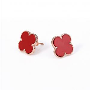 China Four-leaf clover shape  Acrylic stainless steel earrings Titanium steel hypoallergenic color earrings on sale