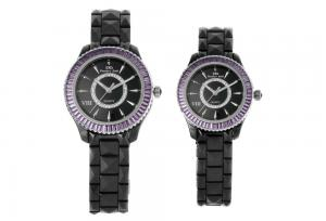 China OEM Cearmic Quartz Watch With Violet Crystal, Round Surface Couple Wrist Watches on sale