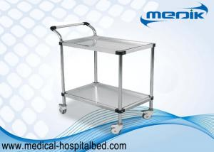 China Detachable Doule Shelves Medical Instrument Trolley With Pushing Hand on sale
