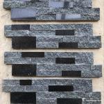 Granite Interior Stacked Stone Panels , Black Stacked Stone Tile Abrasion Resistant
