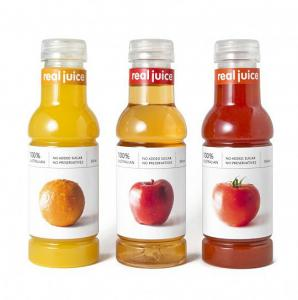China Plastic Adhesive Labels in Creative Classified Fruits Juice Bottles on sale