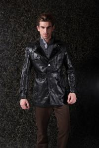 China Popular Style Warm Lining Custom Colors Gentleman jacket , Mens Leather Suits For Adults on sale