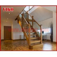 Solid Wood Staircase VK89S Beech Handrail Tread Beech ,Railing tempered glass, Handrail b eech Stringer,carbon
