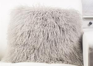 China 16X 16 Oversized Tibetan Mongolian Lamb Throw Pillows Light Grey Light Weight For Travel on sale