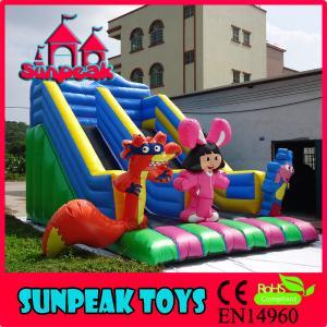 China SL-366 Newest Cartoon Inflatable Double Lane Slip Slide on sale