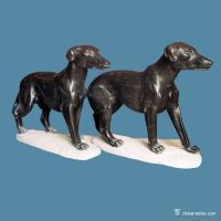 China Black Marble Stone Carving Sculpture Dog , Carved Stone Animal Figures on sale