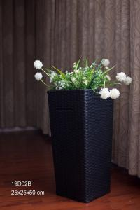 China Home and garden Square Plastic woven flower pot and plant pots stand flower shelf cement flower pots on sale
