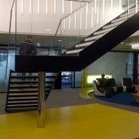 Modern Indoor Straight Double Stringers Timber Steel Staircase