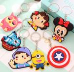 Custom Creative Soft PVC Key Ring Cartoon Buckle Freestyle Injection With Color