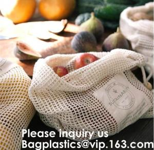 China Bulk Cheap Shopping Mesh Cotton Bag for Fruits Vegetable Grocery Shopping Mesh Net Braided Bags Pure Organic Cotton Eco on sale
