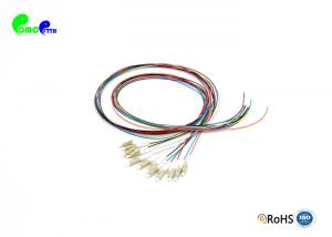 China 12 Colors 12F LC PC Fibre Optic Pigtail 0.9mm OM2 50 / 125μm 1.5m 900μm Loose buffer easy to strip on sale