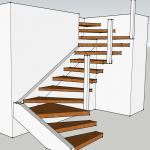 floating stair/invisible stringer stair/straight staircase