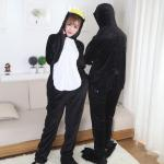 Cute Penguin Cartoon Flannel Black Pajamas