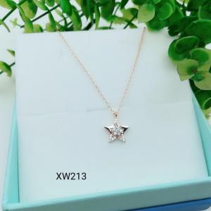 China 925 Sterling Silver Star Moon CZ Charm Choker collarbone chain necklace  WX213 on sale
