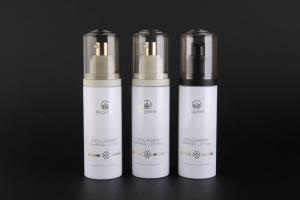 China 120ml PET Plastic Cosmetic Pump Bottle With Full Over Cap Lotion Pump UKLB36 on sale