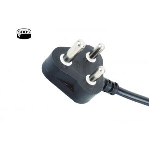 China SABS Plug Type India Power Cord , Black Appliance Power Cable 16A 250V on sale