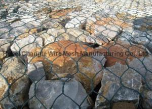 China PVC Coated Galvanized Hexagonal Wire Netting For River Channel , Customize Gabion Stone Cages on sale