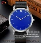 wholesale customization Pu watch Blue  Round dial  alloy case  quartz watch fashion watch concise style  elegant style