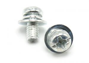 China Whtie Zinc Finish Stainless Steel SEMS Screws Sems Fasteners Grade 4.8 on sale