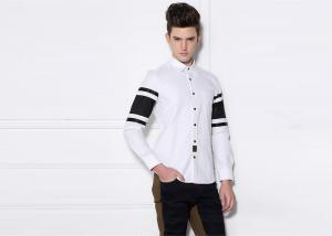 China Two Colors Black Cotton White Shirt Black Buttons Slim Fit Ribbon / Mesh Sleeve on sale