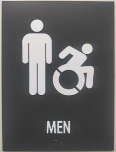 China Iron Gray ADA Mens Restroom Sign Straight Edge 1/8 Non Glare Acrylic on sale