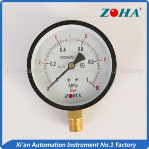 China Bottom or Radial Connection Steel Case Brass Internal General Pressure Gauge on sale
