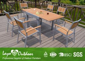 Quality Expandable Wood Dining Table Sets Patio Garden Furniture Nature  Color Light Weight For Sale ...
