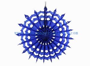 China Artificial 12 Inch Blue , Turquoise Paper Fans Decorations For Restaurant on sale