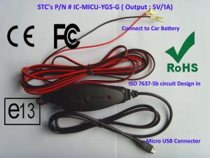 China Hardwire Car Battery Mini USB Car Charger , 2A Output Fast Cell Phone Car Charger on sale