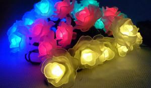 China artificial flowers that light up battery crystal rose string light on sale