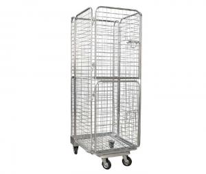 China Warehouse Galvanized Foldable Wire Mesh Roll Container /  Material Handling Equipment on sale