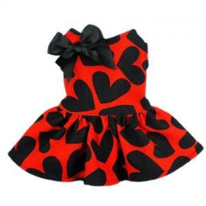 China Red Cloth&Black Heart Pattern Pet Dog Wedding Dresses For Dog on sale