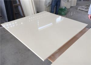 China Pure White Kitchen Quartz Table Top 25.5 Inches Wide With Sink Hole on sale