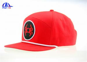 China 100% Polyester Ottoman Woven Snapback Baseball Caps With Flat Embroidery on sale