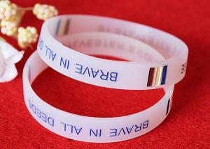 China Half Transparent Rubber Wrist Bracelets 180mm Perimeter Embossed Technique on sale