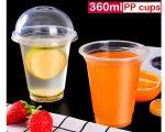 360ml 12 Oz Clear Plastic Cups With Lids , Bubble Tea Plastic Cups Eco Friendly