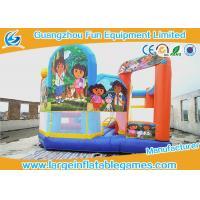 Dora Inflatable Slip N Slide Bouncy Castle , Inflatable Water Slide Jumper For Baby Party