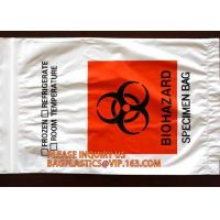 China Biohazard specimen zipper bag Customized, zipper specimen store plastic biohazard bag manufacture sell, laboratory test on sale