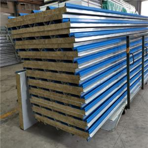 China 0.426mm blue corrugated rock wool sandwich roof panel for prefabricated house on sale