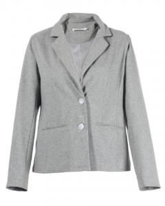 China Slim Fit Short Ladies Formal Blazers In Grey With Lapel Collar And Buttons on sale